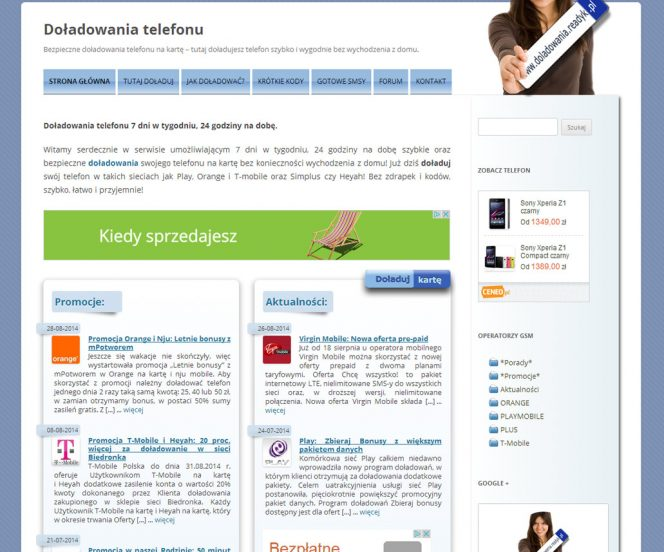 Portal z doładowaniami telefonu komórkowego